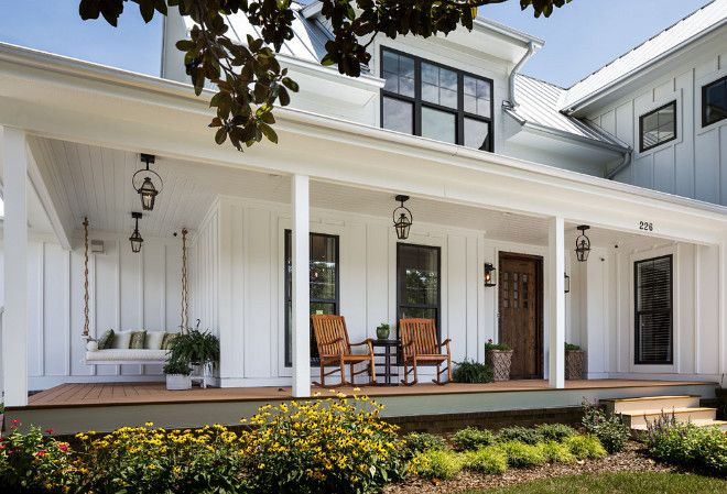 White Exterior Paint Color: White farmhouse exterior paint color is similar to Benjamin Moore OC-17 White Dove. This home is around 3,000 sq ft. (333.33m2) J Taylor Designs. #beautifulhomes