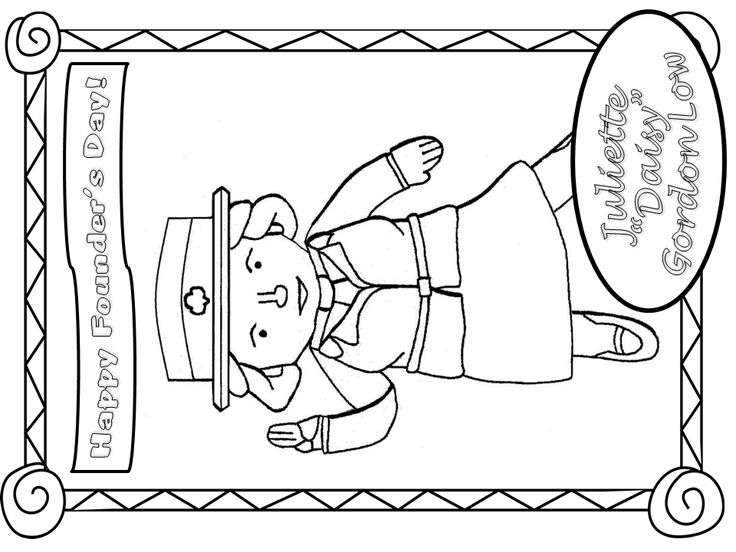 girl scout birthday coloring pages | Founders Day Juliette Gordon Low Happy Birthday Coloring ...