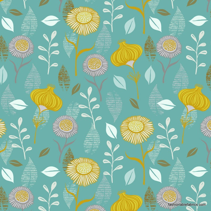 Fabric... Timber and Leaf Gerbera in Turquoise by Blend Fabrics