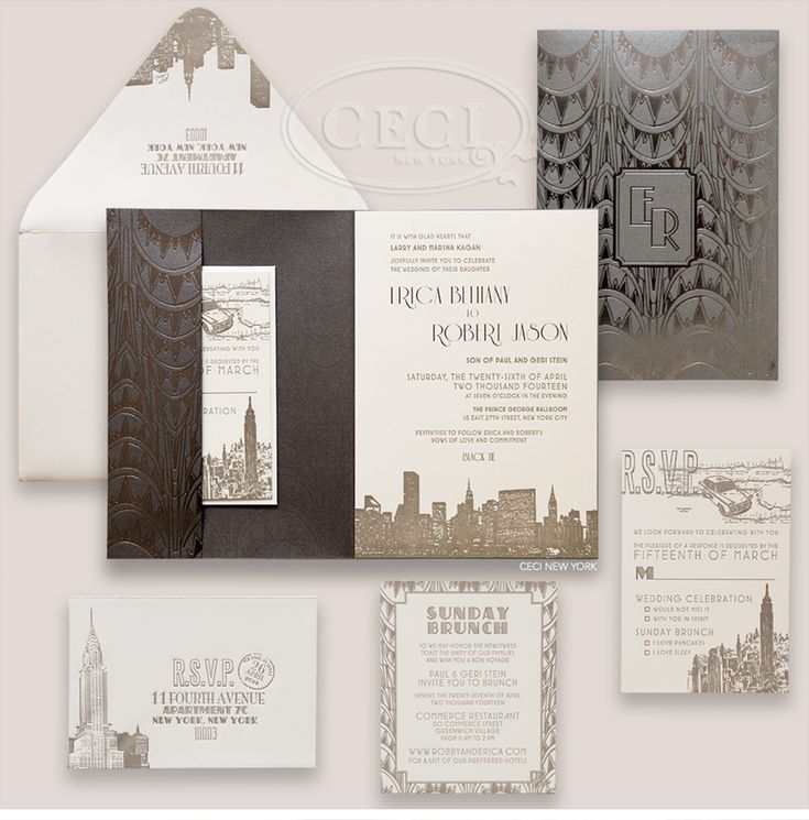 Luxury Wedding Invitations by Ceci New York - Our Muse - Charming New York City Hall Wedding and Celebration - Be inspired by Erica & Robby's charming New York City wedding - foil stamping, ceci new york, invitations, luxury invitations, silver, grey, chrysler building, monogram, two panel wrap, letterpress, calligraphy, digital