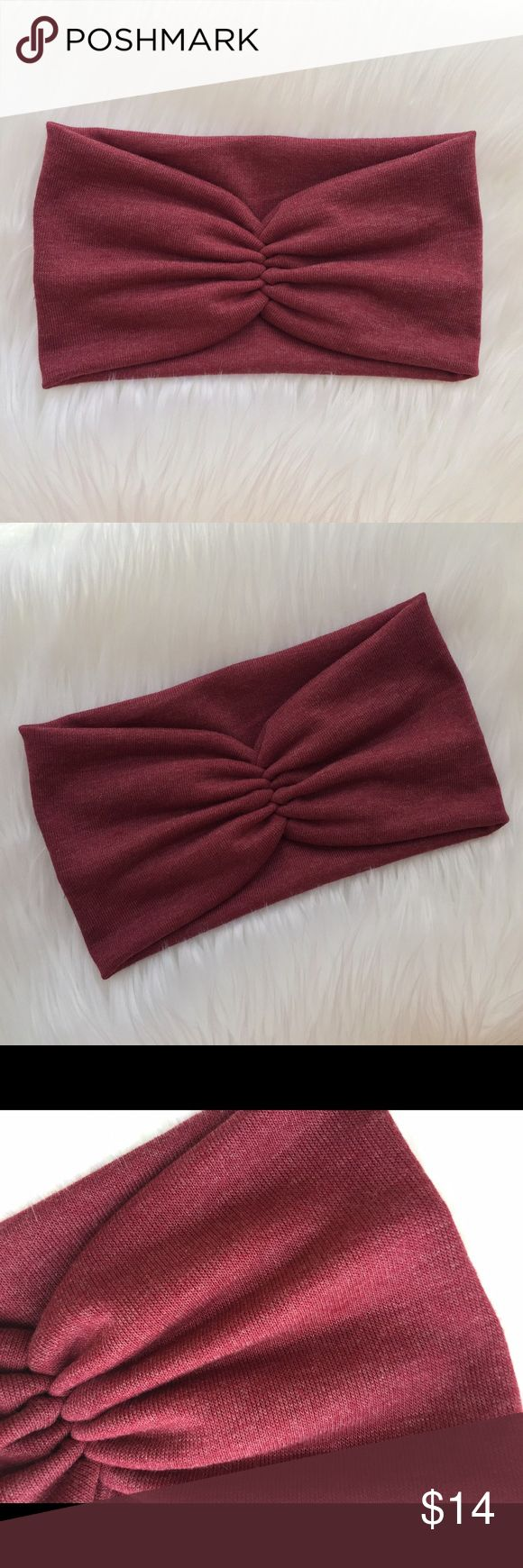 """Winter Scrunch Headband in bold Wine red Scrunch in the front and wide in the back. It is wide and comfy, can be worn wide or scrunch it for a thin look.( great for winter or a cold summer night)                                 Material: crafted from a light weight, soft and stretchy Sweater knit. Band Measures about 5 3/4"""" in the back. Care: Hand Wash cold, lay flat to dry.    *Color of actual product purchased may slightly vary in hue/ color from photograph due to camera lighting…"""