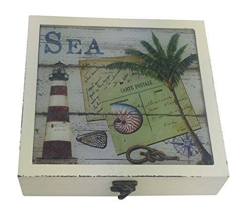 Large decorative gift boxes make for charming home decor. Also these decorative gift boxes are functional and they perform well Especially decorative nesting gift boxes. Great for key storage, jewelry storage, #gift #boxes and to use as home decorative accents.  #giftboxes    Nautical Large Square Wood Box - Nautilus Shell with Red and White Lighthouse