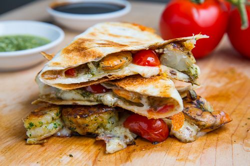 PESTO GRILLED SHRIMP CAPRESE QUESADILLAS: Recipe Courtesy of Kevin Lynch. ~ Crispy pesto grilled shrimp filled with plenty of ooey gooey melted mozzarella.