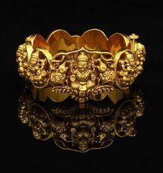Gold Bangle | Antique Finish Lakshmi Kada