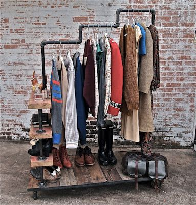 AHHH!!! I LOVE THIS!!! Garment rack w/ pipe and reclaimed wood. Great for guestroom with no closet?