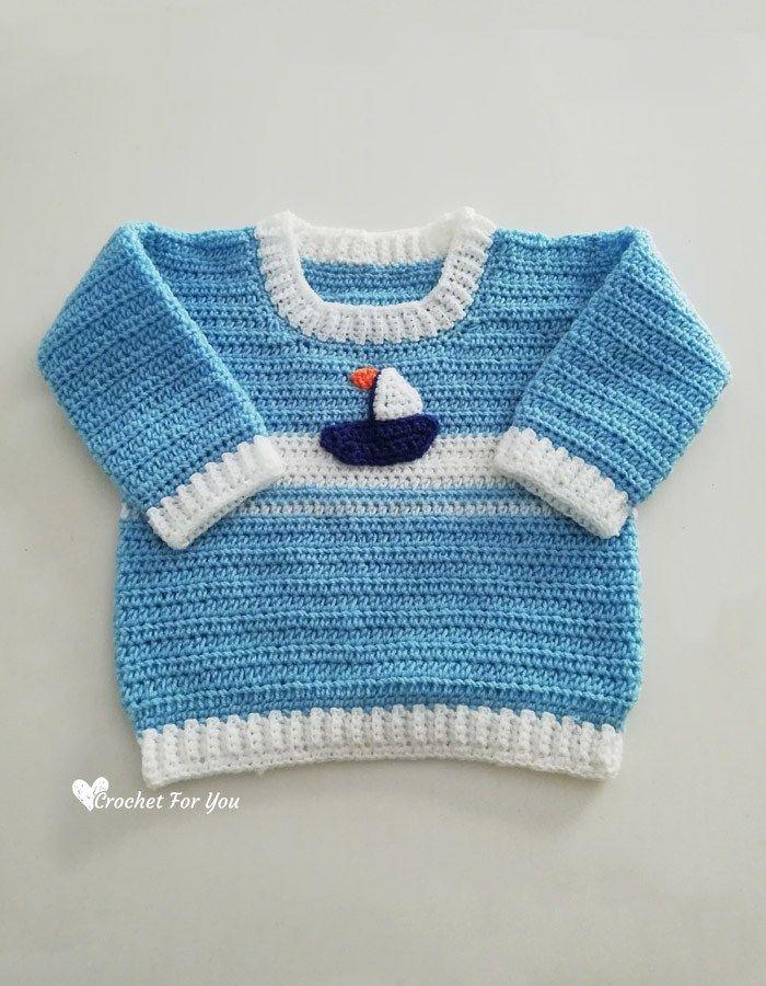 7857fb37f14d Crochet Set Sail Baby Sweater Free Pattern