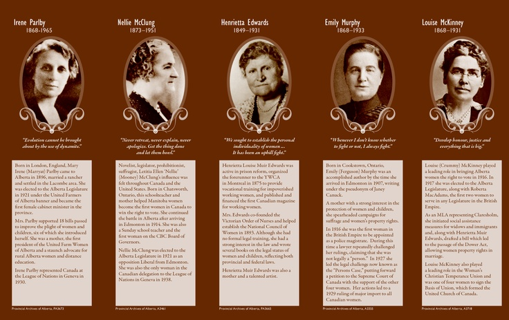 The famous five: Irene Parlby, Nelly McClung, Henrietta Edwards, Emily Murphy, Louise McKenney.