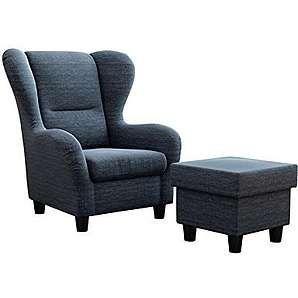 Ohrensessel Möbelfreude® Landhausstil mit Hocker Savana Cocktail-Sessel Wohnzimmer-Sessel Relax-Sessel Blau Struktur-Stoff Luxus Cocktail-Sessel (Blau)