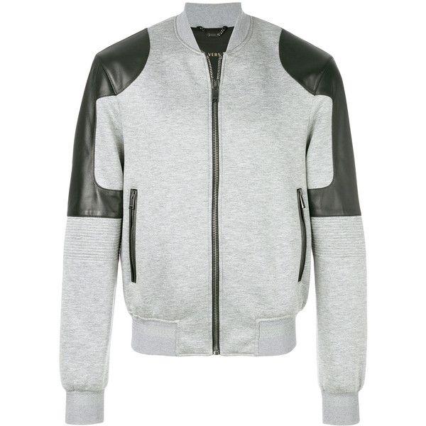 Versace Medusa bomber jacket (153.570 RUB) ❤ liked on Polyvore featuring men's fashion, men's clothing, men's outerwear, men's jackets, grey, mens grey jacket, mens grey bomber jacket, versace mens jacket and mens gray leather jacket