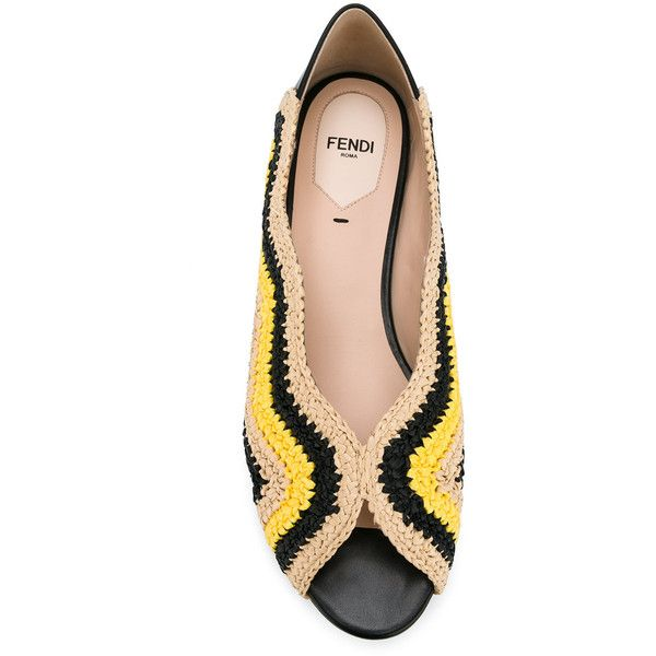 Fendi peep toe ballerina shoes ($1,000) ❤ liked on Polyvore featuring shoes, flats, leather ballet flats, leather ballet shoes, ballet flats, ballerina flat shoes and woven flats