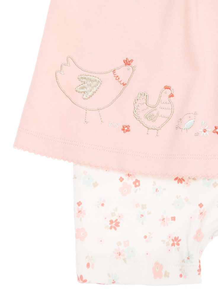 Add to your newborn's collection with this little hen patterned set, which features a short-sleeved top with attached bottoms. Pink little hen set Crew neck Short sleeves Attached bottoms Scalloped trim Little hen design Keep away from fire