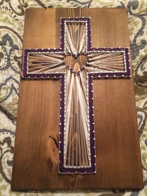 Cross string art (religious, nail, thread)- Order from KiwiStrings on Etsy! ( www.KiwiStrings.etsy.com )