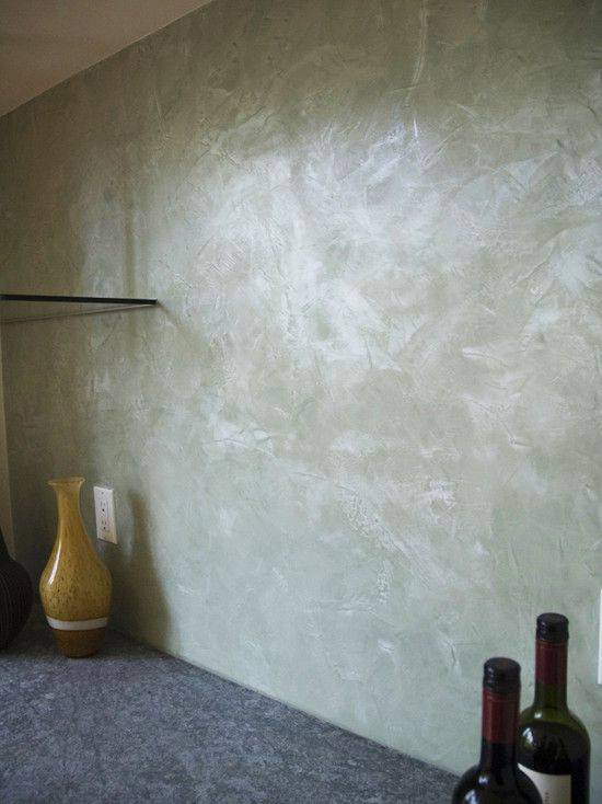 Venetian plaster backsplash.