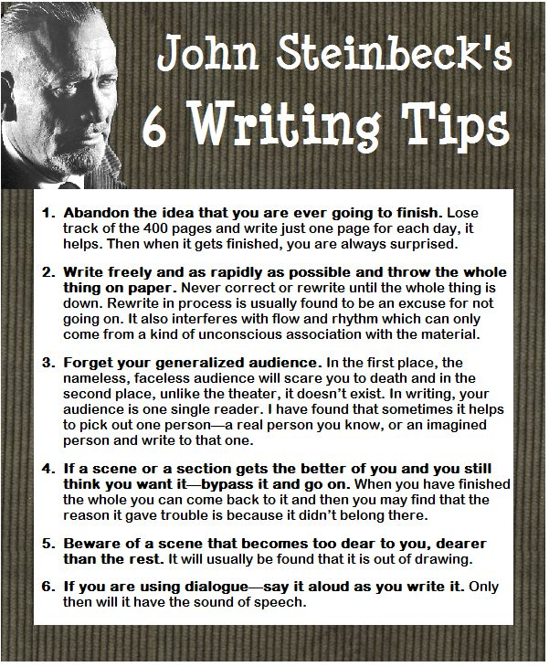 John Steinbeck's writing tips