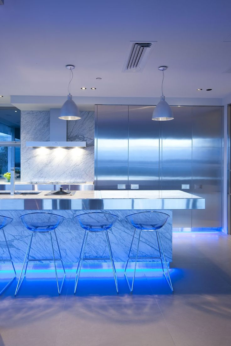 light emotions contemporary kitchen lighting Led Modern Kitchen Lighting Design Ideas blue highlighted modern kitchen