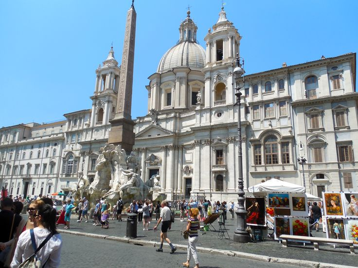Shopping on the PIazza Navona, Rome, Italy. July 2013