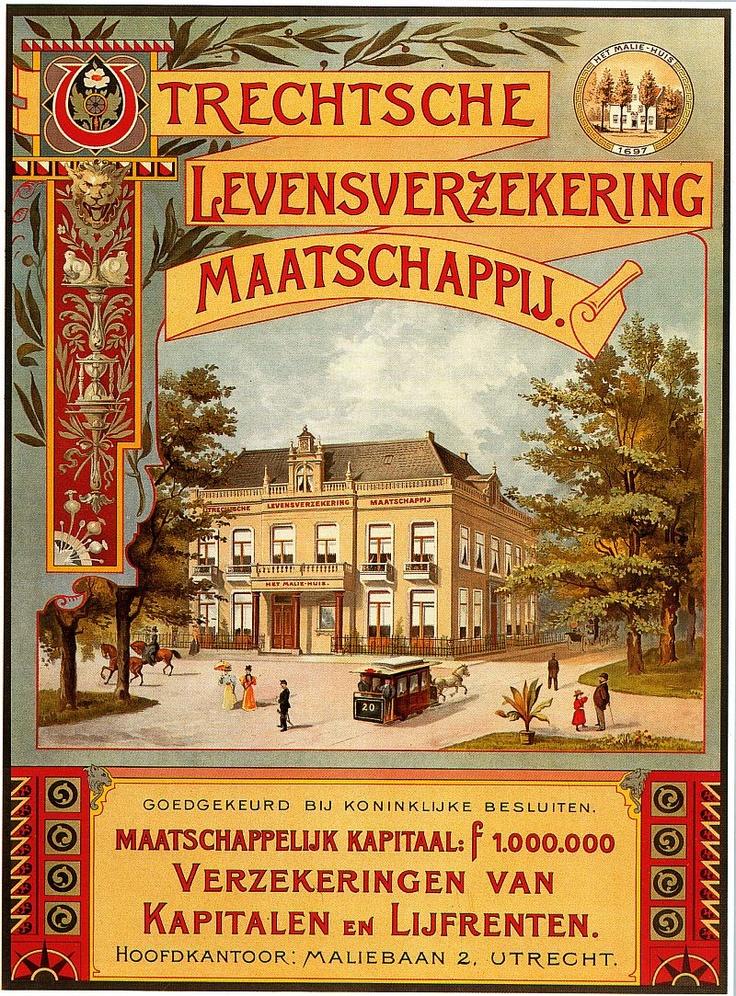 1897. Maliebaan. In het Maliehuis zat de Utrechtsche Levensverzekering Maatschappij. Later AMEV