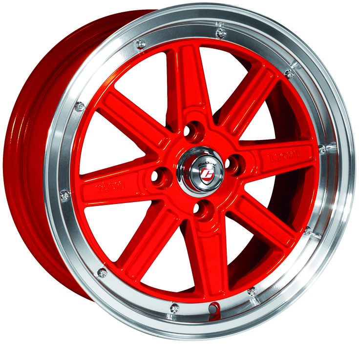 Wheel Focus: Calibre Bomb (Red with Polished Rim) - An awesome member of the Calibre Retro collection, the Bomb is ideally suited to a range of Euro and Jap vehicles alike with two intersecting crosses in a powerful red finish with tasty polished lip.