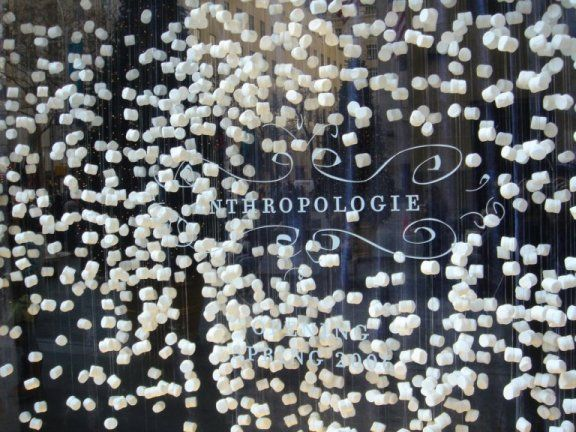 Fantastic and easy way to decorate a backdrop for a wedding or a photobooth wall: Holiday, Window Displays, Anthropologie Window, Display Ideas, Windows, Christmas Window, Marshmallows, Windowdisplay