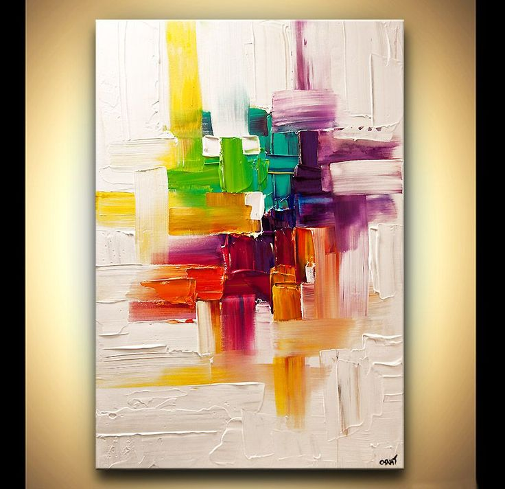Original abstract art paintings by Osnat - colorful abstract painting on white background texture - $350