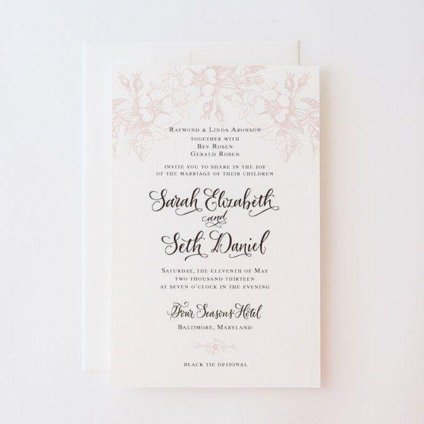 """Garden Bouquet"" letterpress wedding invitation with hand-written calligraphy, $700 for 100 invitations, Antiquaria"