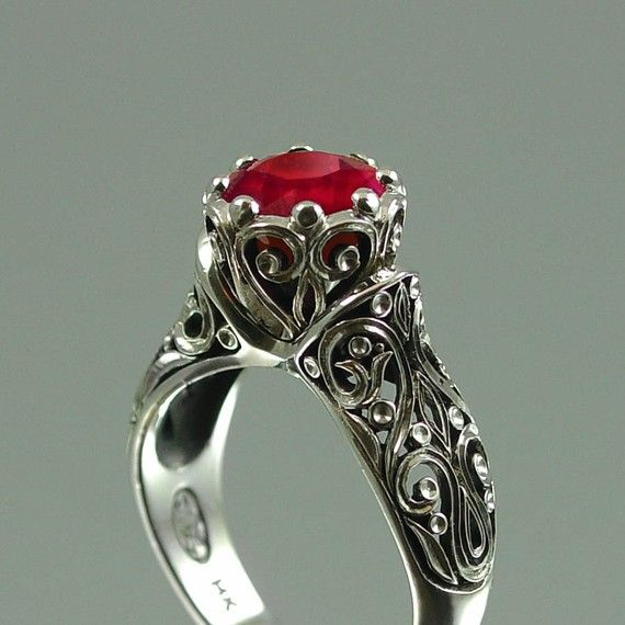 14K white gold and ruby ring