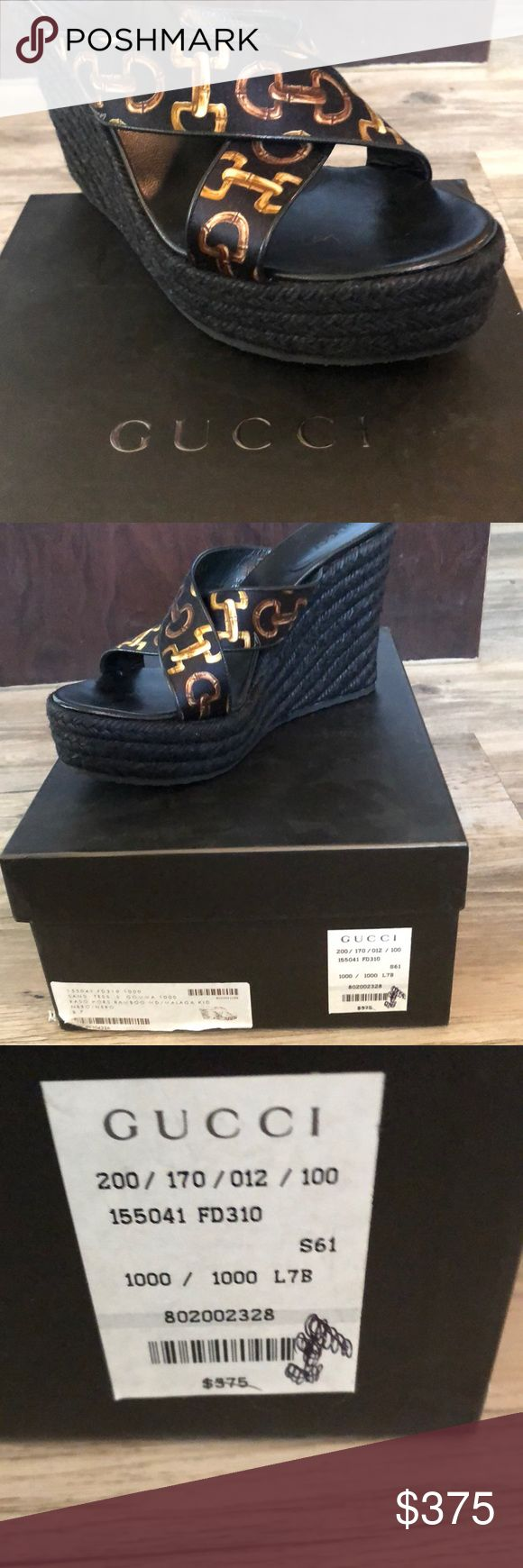 New Gucci horsebit wedges. Sz 7 Brand new in box Gucci wedges.  Never worn never tried on still packaged. Price tag still on the box Gucci Shoes Wedges