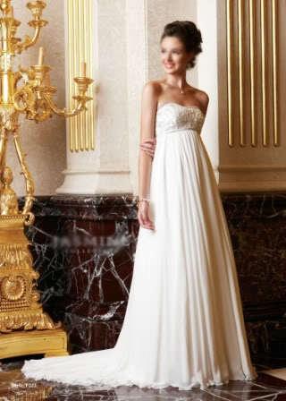 White Ivory Chiffon Empire Waist Maternity Pregnant Wedding Dress Formal Gown | eBay