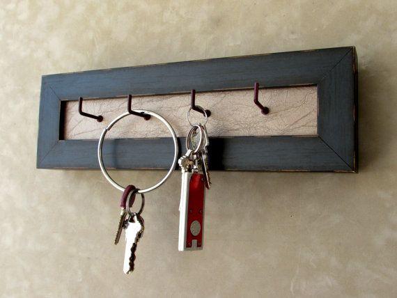 #Rustic #Keyholder, #Mounted #Key #holder, #Distressed #Keyholder, #Framed #Keyhook, #Wall #Mounted, #Blue #Keyholder, #etsy, #greatfindsonetsy #customframing #customframers, #distressed, #blue