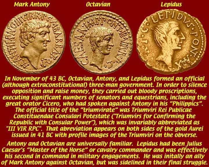 The second triumvirate came about after Caesar's death; and three men Octavian, Antony, and Lepidus joined together to rule Rome.