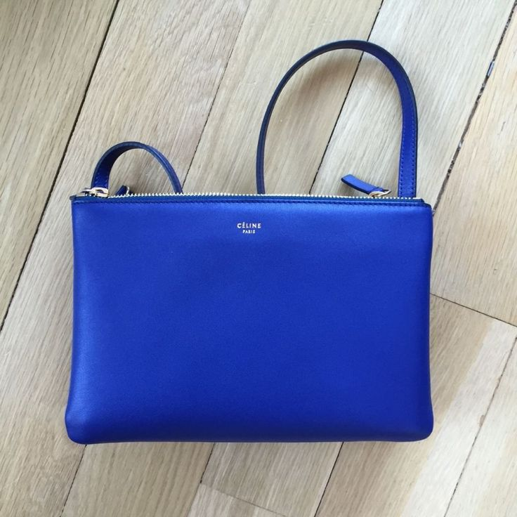 CELINE INDIGO BLUE SMALL TRIO BAG 2014 NWT AUTH SOLD OUT mini ...