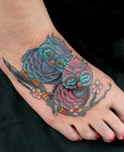Cute owl tattoos on foot - photo#24