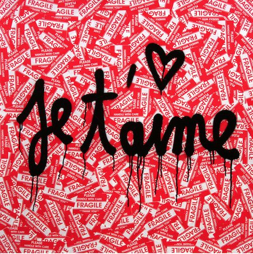 Je T'aime by Mr. Brainwash is a pop-graffiti hybrid of one of the most celebrated phrases of love. Brainwash takes a page from Warhol's book and repeats it.