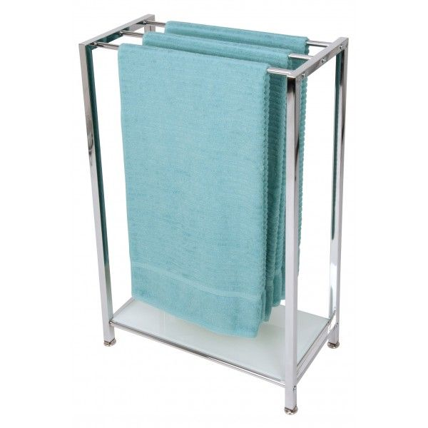 This chrome freestanding towel rack is stylish and functional all in one. Ideal to utilise space in your bathroom, ensuite or bedroom.� The glass shelf offers extra storage for folded towels, cosmetics or bathroom products.52.5cm x 24cm x83.5cm