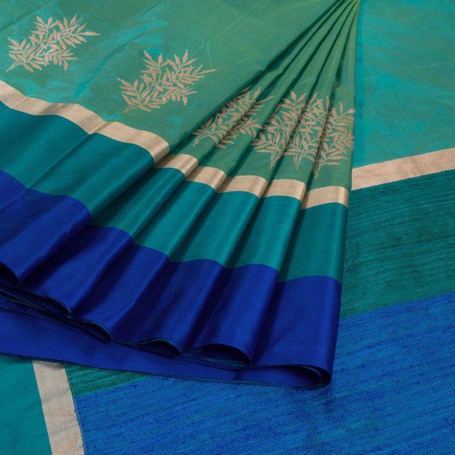 Shivangi Kasliwaal Bluish Green Handwoven Banarasi Silk Saree with Multicolour Border 10009196 - AVISHYA.COM