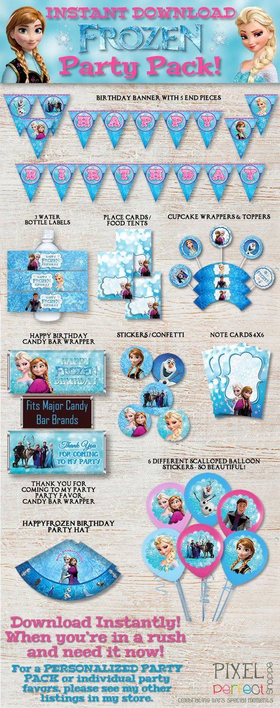 INSTANT DOWNLOAD Frozen Party Pack Frozen by PixelPerfectShoppe, $12.99