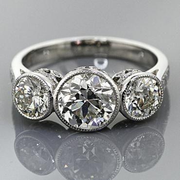 Vintage Platinum Engraved Engagement Ring | Vintage Engagement Rings | Platinum Wedding Bands | Engagement Rings