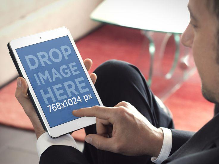 Business Man Uses iPad Mockup   iPad Mockup Generator Placeit Stage Image