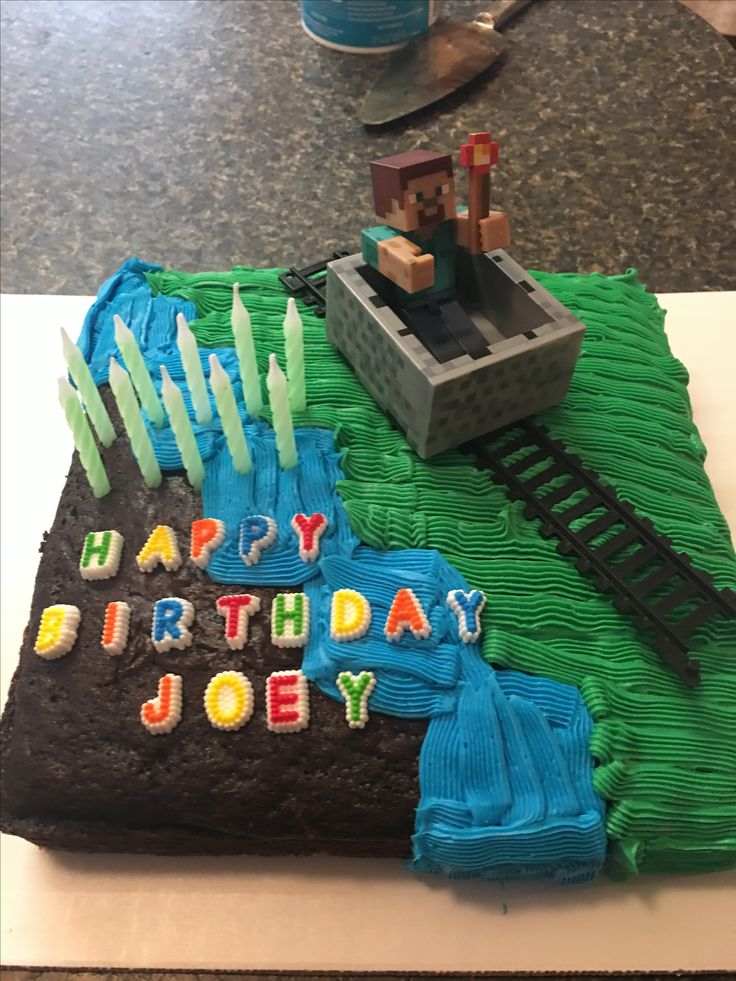 My son wanted a minecraft cake for his birthday this year. He doesn't like icing so he helped design how it should look to include his non icing section.