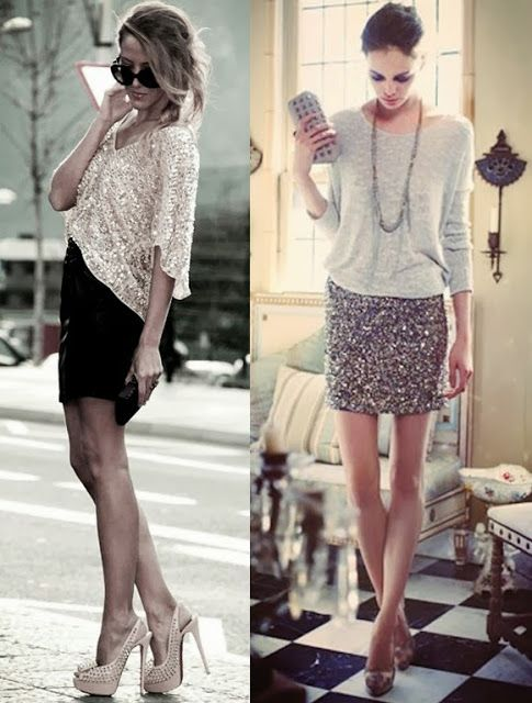 I would put the same style blouse on the left but in a solid colour no sequins with the sequin skirt on the right with nude heels, hair down with curls(:b