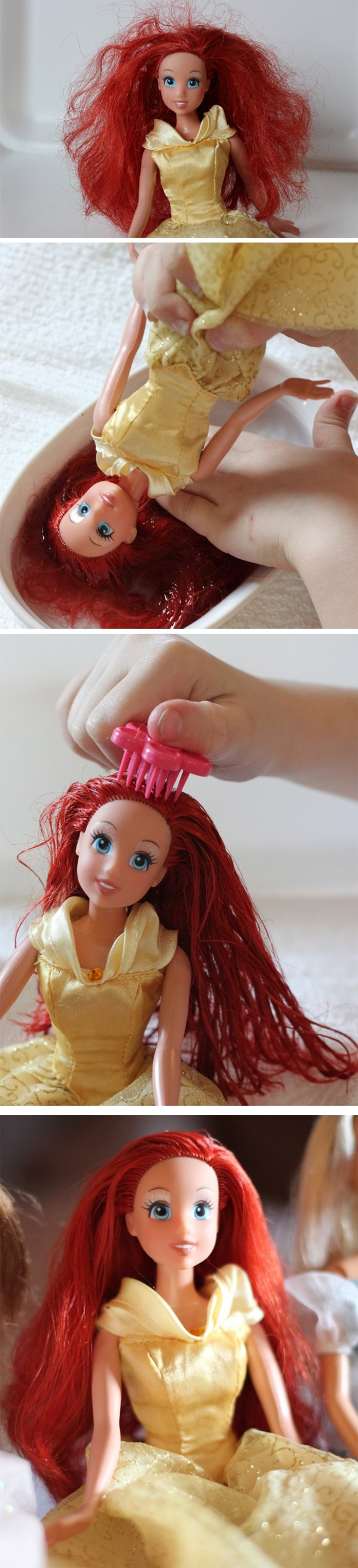 Sistemare i capelli crespi delle barbie.