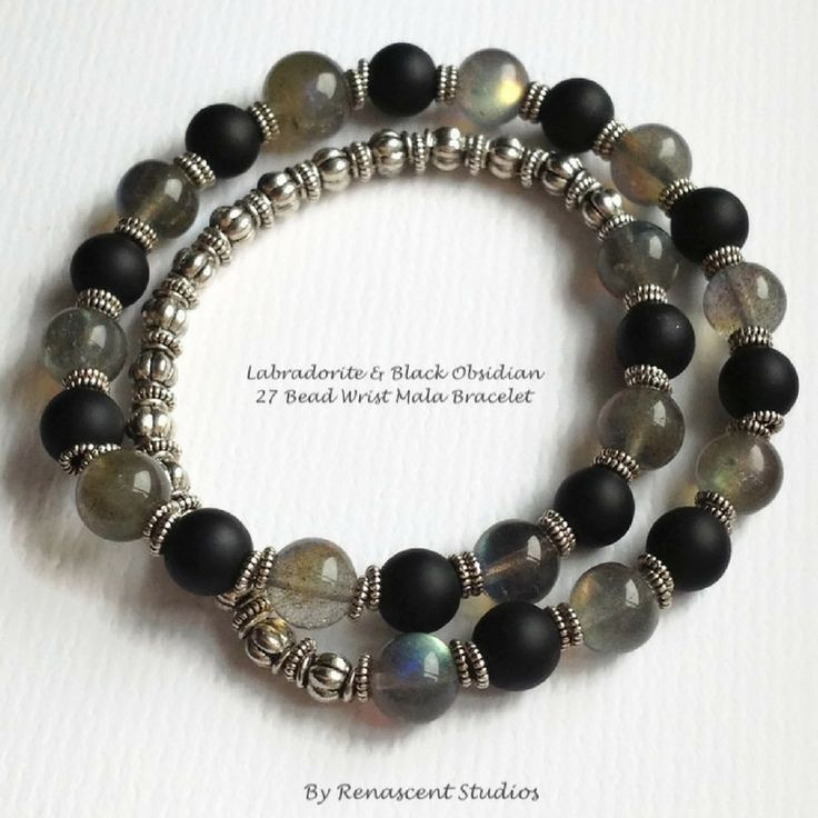 Featuring labradorite crystals and frosted black obsidian gemstones. This powerful bracelet helps aid in balance and protection.