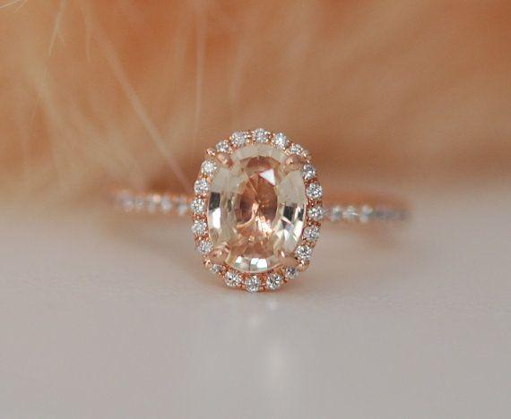 Bague de fiançailles or rose. Bague en diamant par EidelPrecious