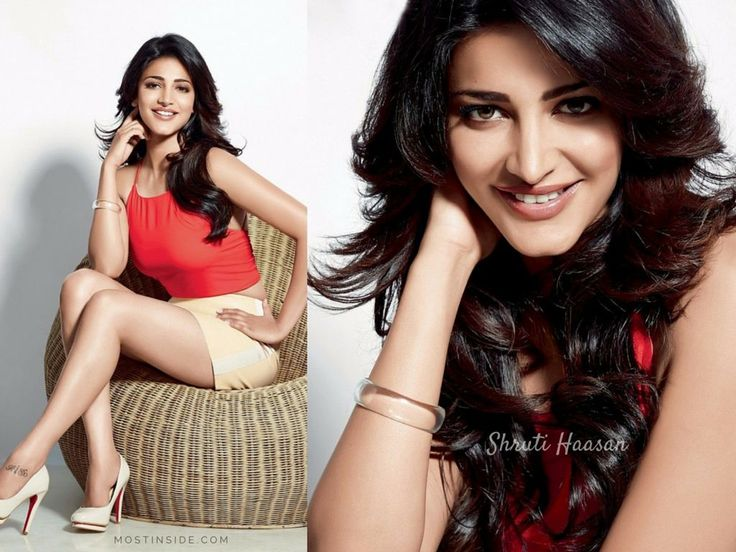 #ShrutiHaasan in a bold red cropped top with a silky satin #miniskirt and a pair of pumps is simply beautiful.