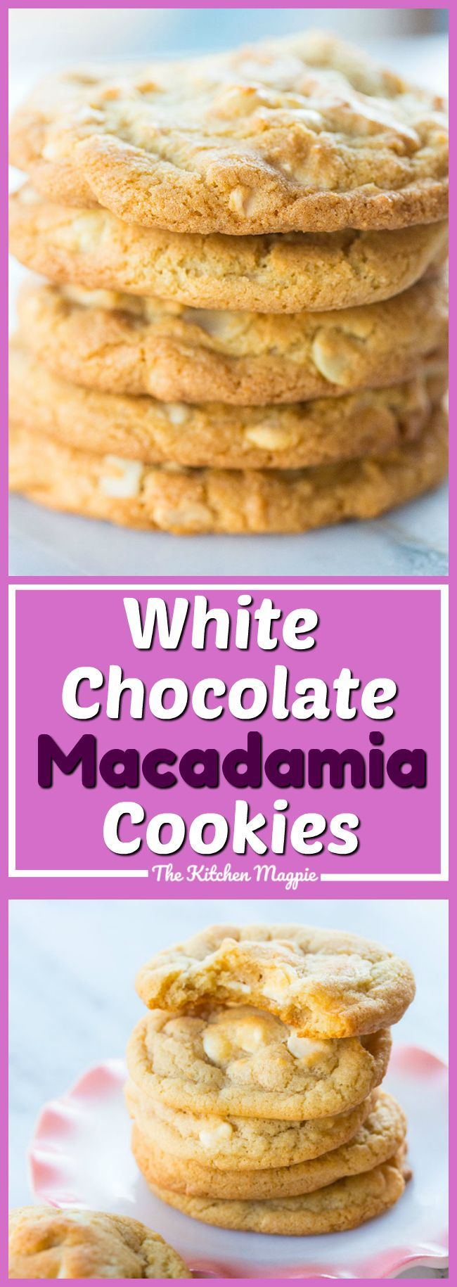 These Thick and Chewy White Chocolate Chip Macadamia Nut Cookies are my favourite cookie in the world! This recipe yields thicker cookies than most and is the best recipe out there! Recipe from @kitchenmagpie #cookies #macadamia #whitechocolate #recipe #baking