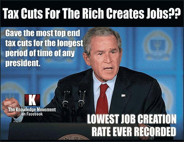 GW Bush swore tax cuts for the rich would crate jobs. Those tax cuts are still in effect. Bush had the lowest job creation rate ever recorded, plus he crashed our economy. GW Bush was our Worst president ever!