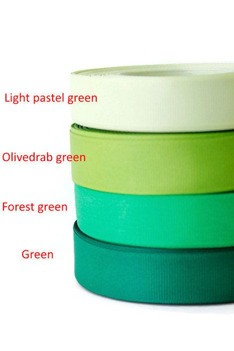 3/4 inch Ribbon by the yard, Grosgrain ribbon, Green colour palette, Scrapbooking supplies, Sewing, Hairbow Supplies, Craft by TwoChubbyRabbits on Etsy