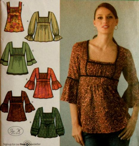 RENAISSANCE Top Sewing Pattern - Six BOHO Tunic Tops & Blouses -oop htf