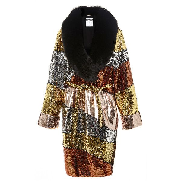 Moschino Color Block Sequinned Coat With Fur Collar ($13,995) ❤ liked on Polyvore featuring outerwear, coats, fur-collar coat, black wrap coat, sequin coat, black coat and moschino