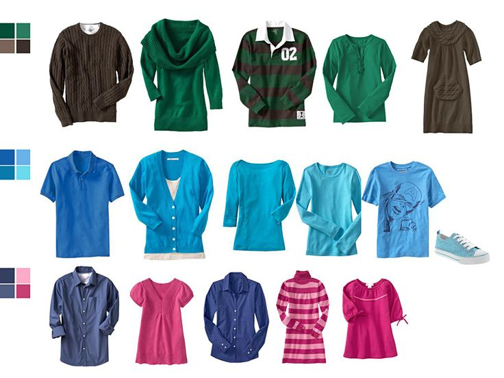 Great suggestions for outfits for photoshoots! Brights! Greens, blues, blues/pinks...